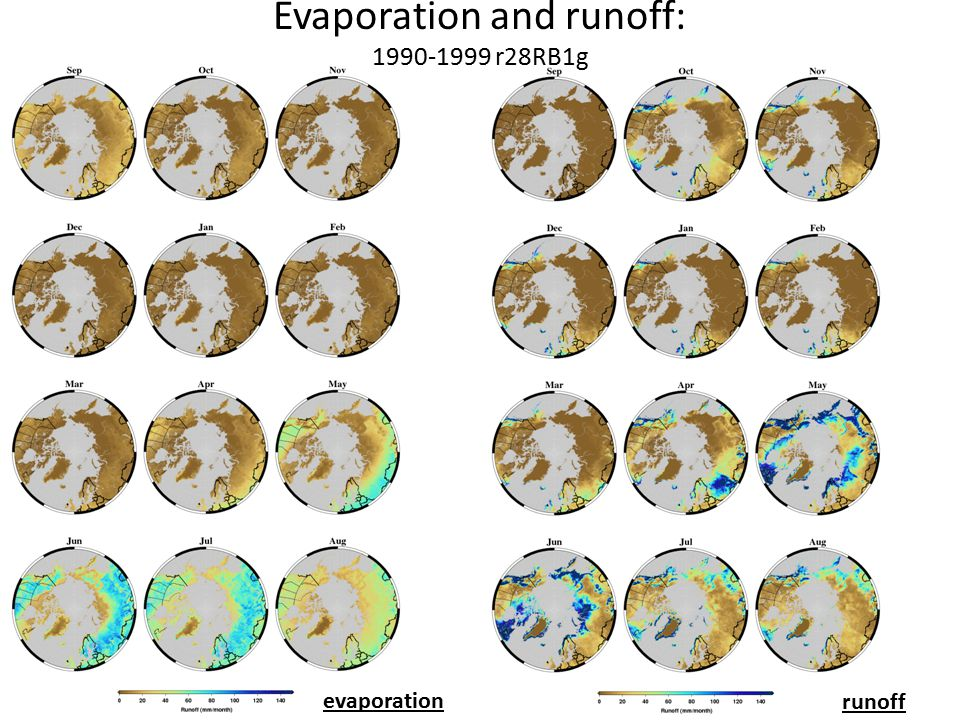 Evaporation and runoff: 1990-1999 r28RB1g evaporation runoff