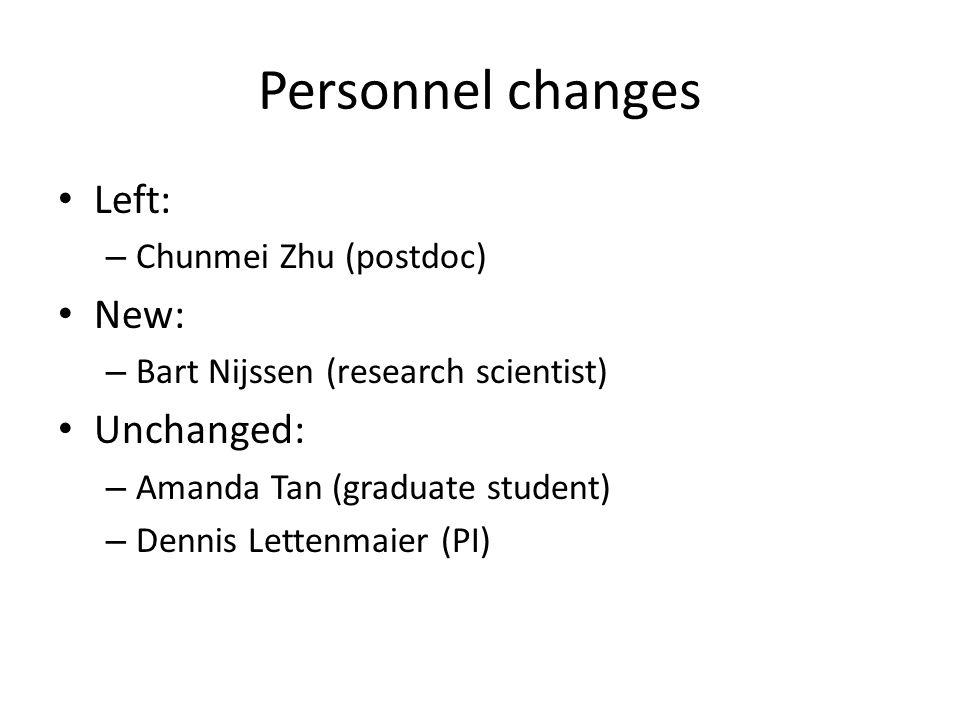 Personnel changes Left: – Chunmei Zhu (postdoc) New: – Bart Nijssen (research scientist) Unchanged: – Amanda Tan (graduate student) – Dennis Lettenmaier (PI)