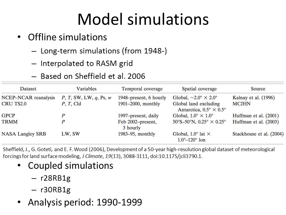 Model simulations Offline simulations – Long-term simulations (from 1948-) – Interpolated to RASM grid – Based on Sheffield et al. 2006 Sheffield, J.,