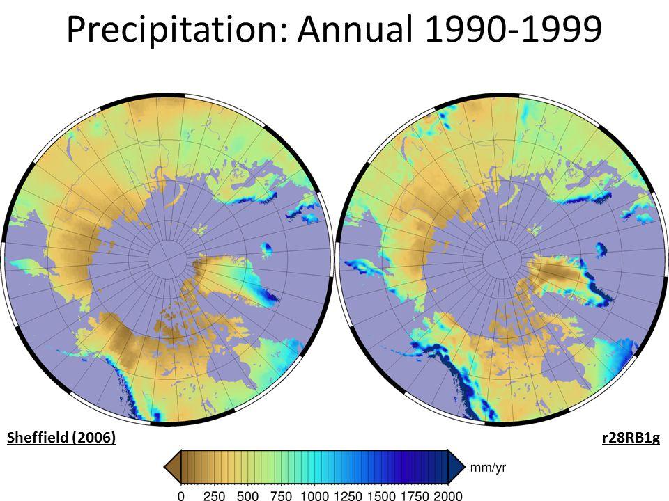 Precipitation: Annual 1990-1999 Sheffield (2006)r28RB1g