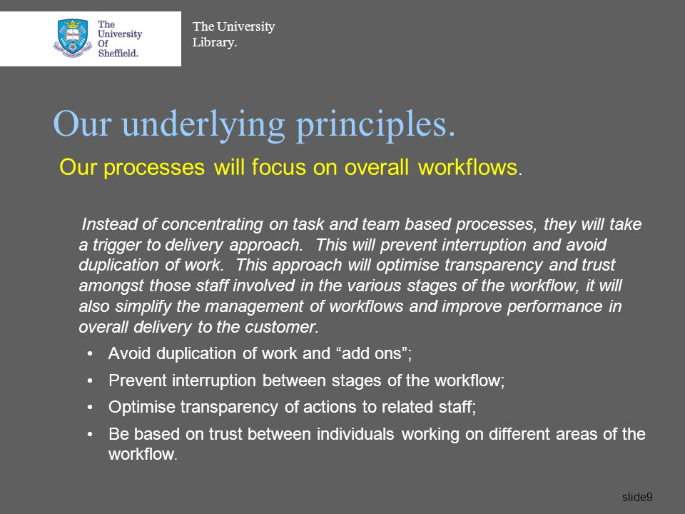 The University Library.slide10 Our underlying principles.