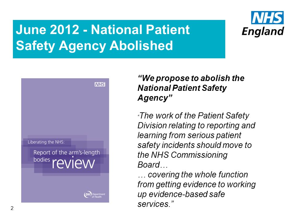 2001 National Patient Safety Agency Established Collect and analyse information on adverse events Assimilate other safety-related information Learn lessons and ensure that they are fed back into practice Where risks are identified, produce solutions to prevent harm