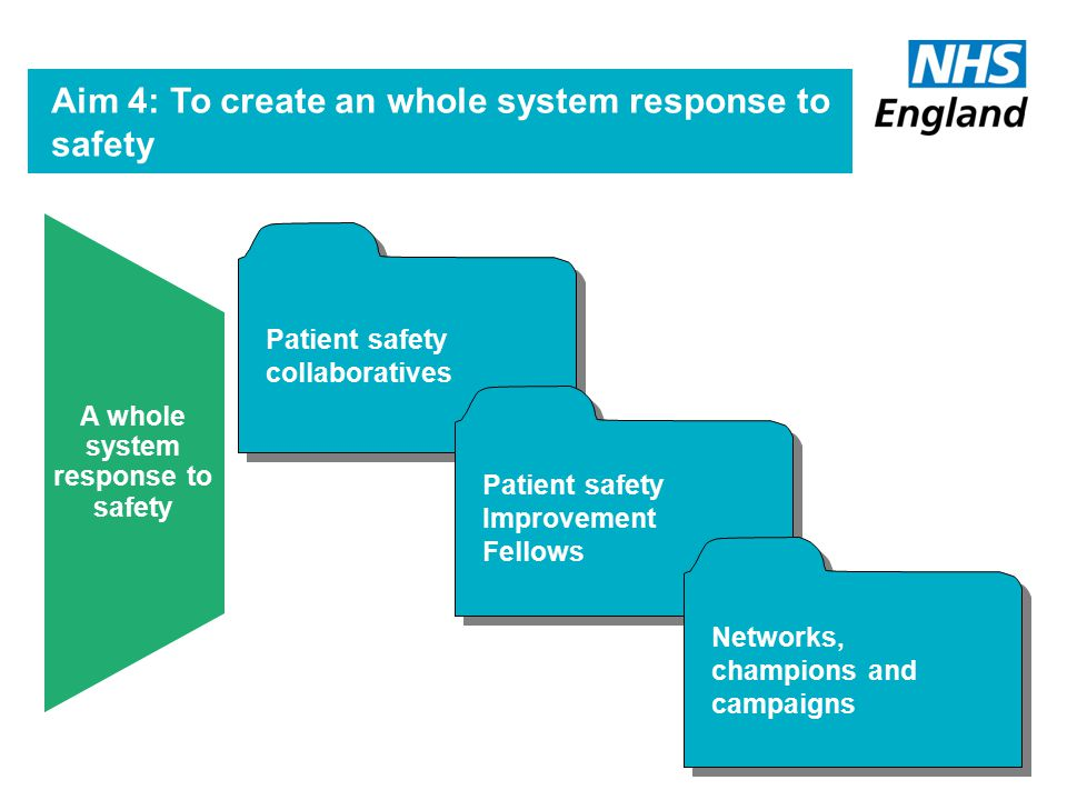 Safety Expert Groups Patient Safety Skills Strategy Enhanced safety leadership Building Capacity for Safety Aim 3: To build capacity to deliver safer care