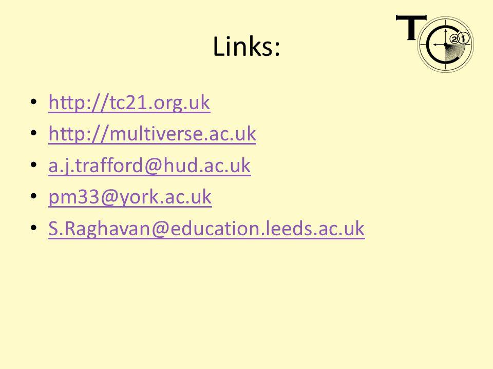 Links: http://tc21.org.uk http://multiverse.ac.uk a.j.trafford@hud.ac.uk pm33@york.ac.uk S.Raghavan@education.leeds.ac.uk