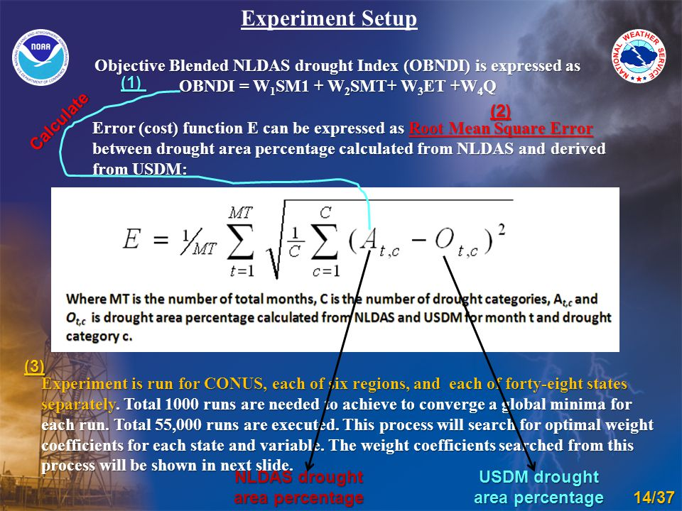 Error (cost) function E can be expressed as Root Mean Square Error between drought area percentage calculated from NLDAS and derived from USDM: Experiment Setup Experiment is run for CONUS, each of six regions, and each of forty-eight states separately.