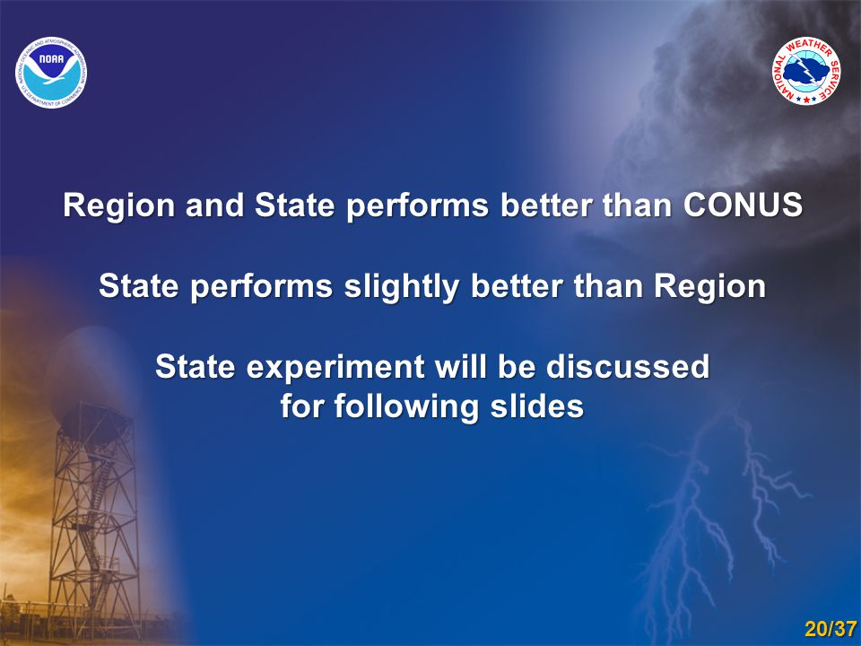 Region and State performs better than CONUS State performs slightly better than Region State experiment will be discussed for following slides 20/37