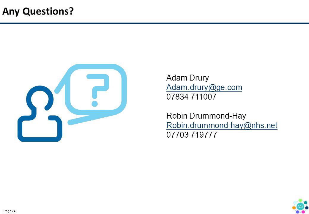 Page 24 Any Questions? Adam Drury Adam.drury@ge.com 07834 711007 Robin Drummond-Hay Robin.drummond-hay@nhs.net 07703 719777