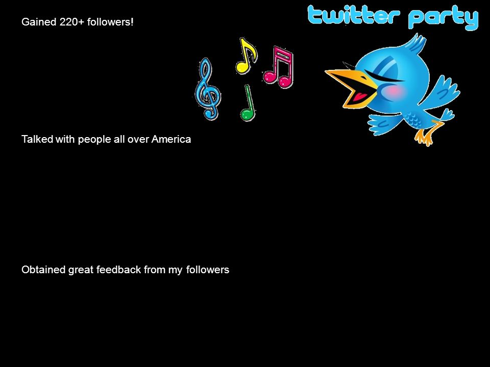 Gained 220+ followers! Talked with people all over America Obtained great feedback from my followers