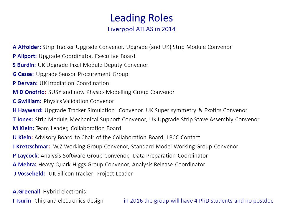 Leading Roles Liverpool ATLAS in 2014 A Affolder: Strip Tracker Upgrade Convenor, Upgrade (and UK) Strip Module Convenor P Allport: Upgrade Coordinator, Executive Board S Burdin: UK Upgrade Pixel Module Deputy Convenor G Casse: Upgrade Sensor Procurement Group P Dervan: UK Irradiation Coordination M D Onofrio: SUSY and now Physics Modelling Group Convenor C Gwilliam: Physics Validation Convenor H Hayward: Upgrade Tracker Simulation Convenor, UK Super-symmetry & Exotics Convenor T Jones: Strip Module Mechanical Support Convenor, UK Upgrade Strip Stave Assembly Convenor M Klein: Team Leader, Collaboration Board U Klein: Advisory Board to Chair of the Collaboration Board, LPCC Contact J Kretzschmar: W,Z Working Group Convenor, Standard Model Working Group Convenor P Laycock: Analysis Software Group Convenor, Data Preparation Coordinator A Mehta: Heavy Quark Higgs Group Convenor, Analysis Release Coordinator J Vossebeld: UK Silicon Tracker Project Leader A.Greenall Hybrid electronis I Tsurin Chip and electronics design in 2016 the group will have 4 PhD students and no postdoc