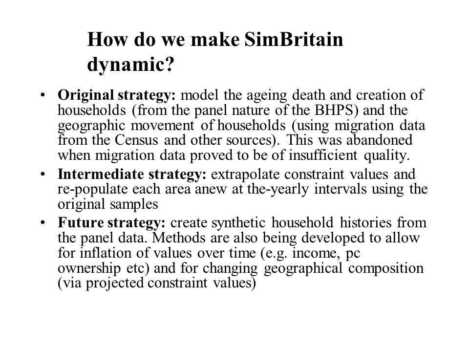How do we make SimBritain dynamic.