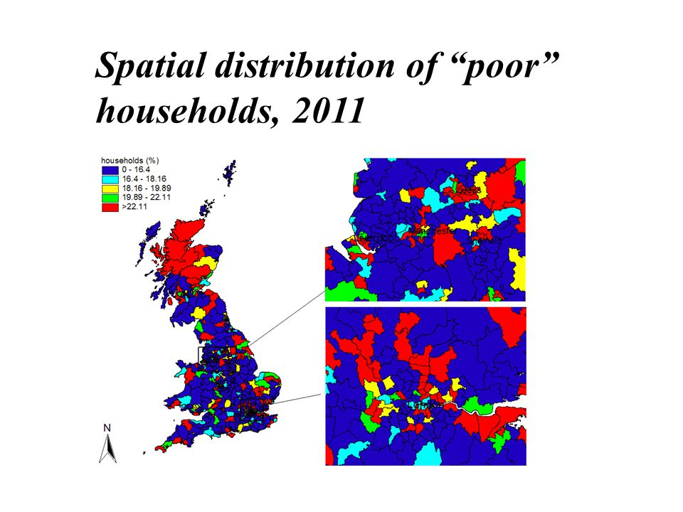 Spatial distribution of poor households, 2011