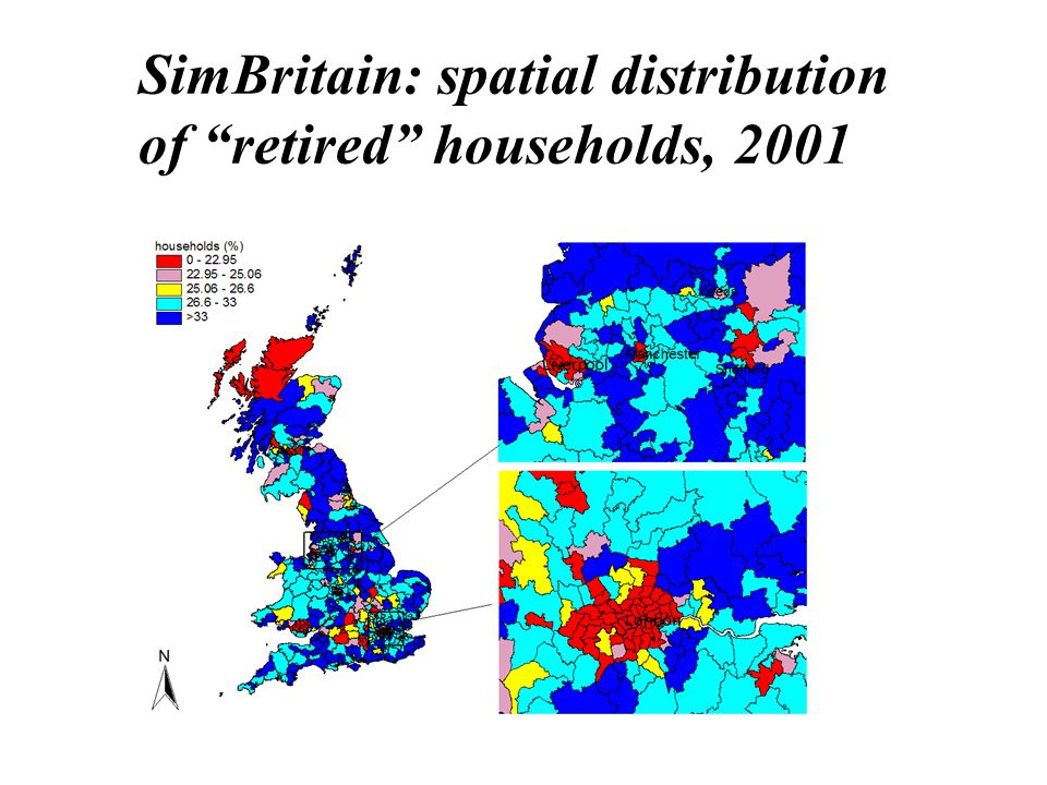 SimBritain: spatial distribution of retired households, 2001