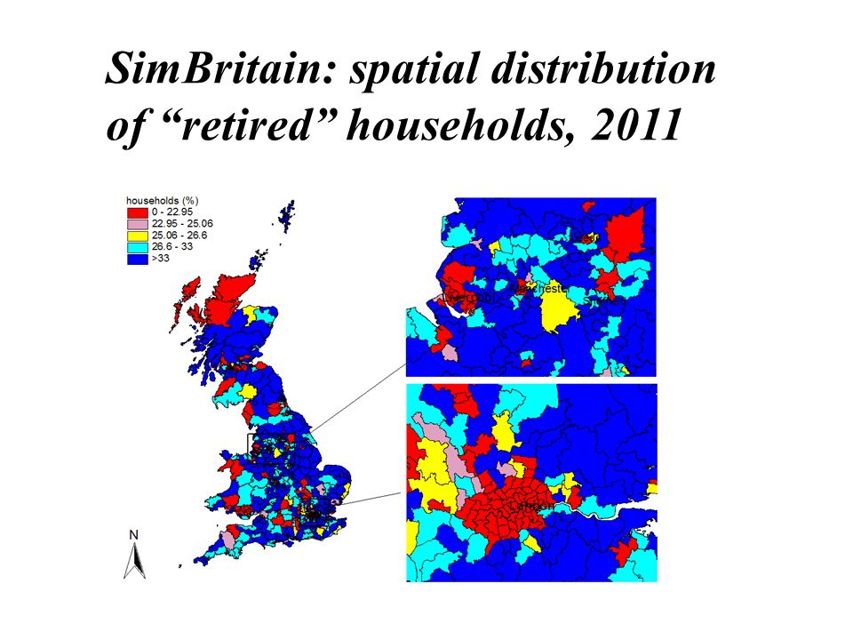 SimBritain: spatial distribution of retired households, 2011