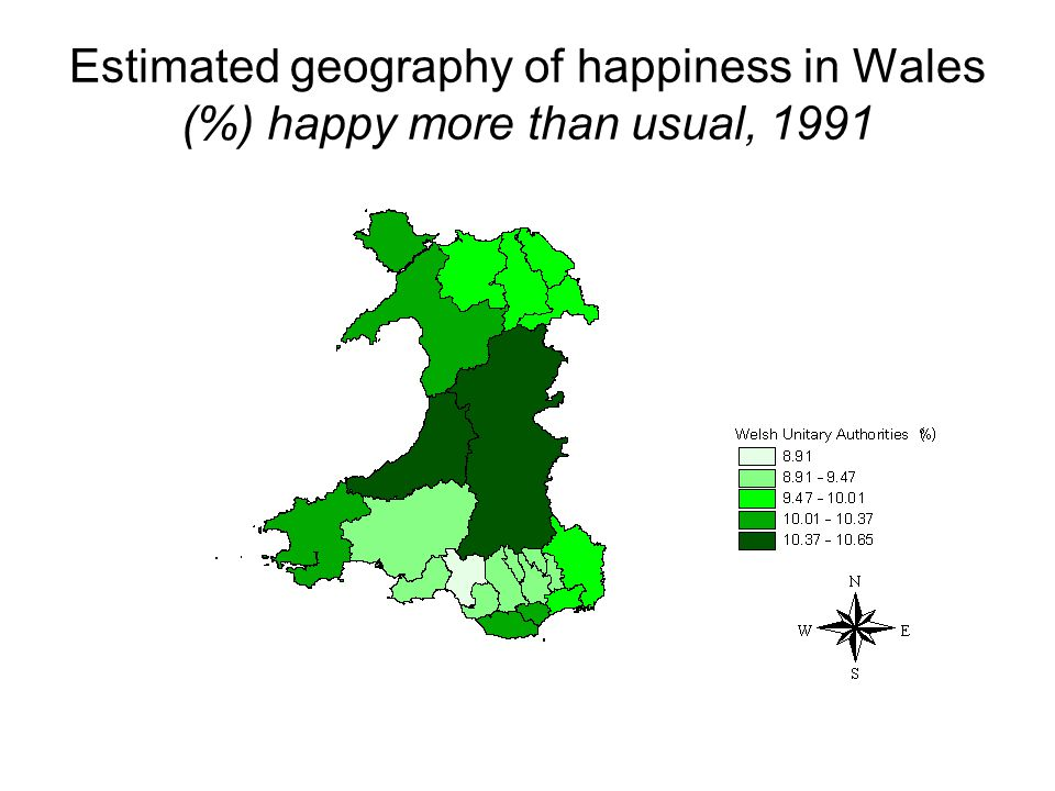 Estimated geography of happiness in Wales (%) happy more than usual, 1991