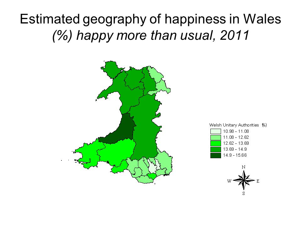 Estimated geography of happiness in Wales (%) happy more than usual, 2011