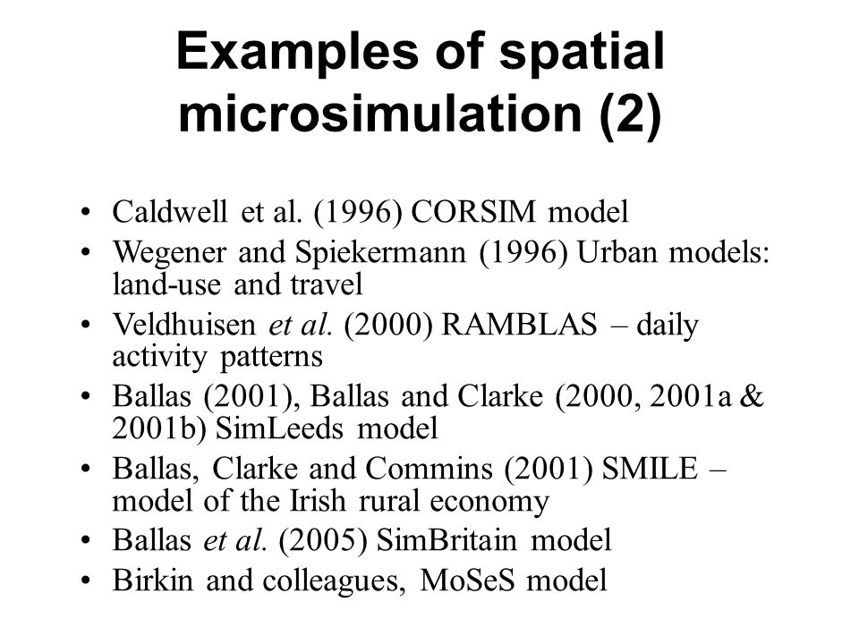 Examples of spatial microsimulation (2) Caldwell et al.
