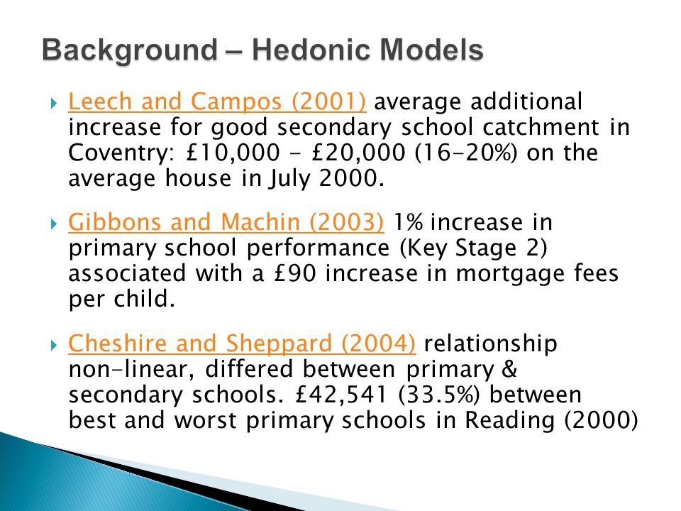  Leech and Campos (2001) average additional increase for good secondary school catchment in Coventry: £10,000 - £20,000 (16-20%) on the average house in July 2000.