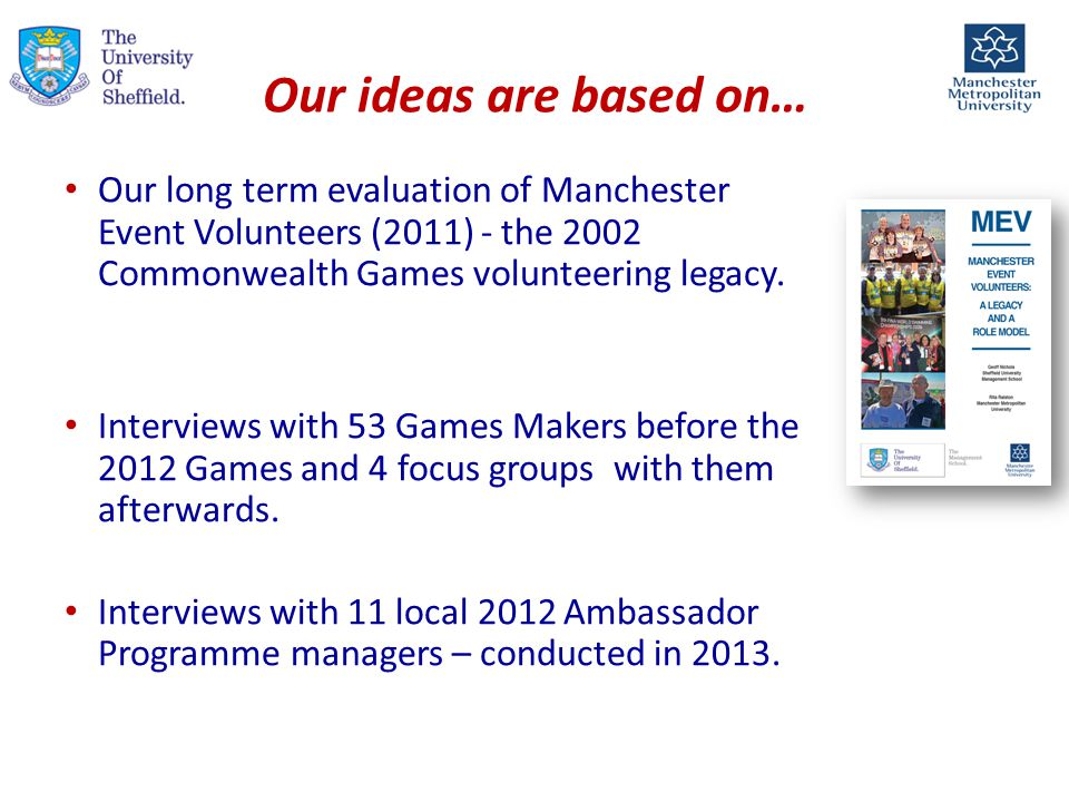 Our ideas are based on… Our long term evaluation of Manchester Event Volunteers (2011) - the 2002 Commonwealth Games volunteering legacy.