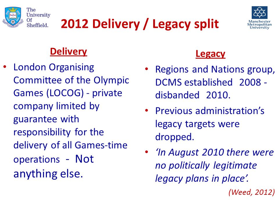 2012 Delivery / Legacy split Delivery London Organising Committee of the Olympic Games (LOCOG) - private company limited by guarantee with responsibility for the delivery of all Games-time operations - Not anything else.