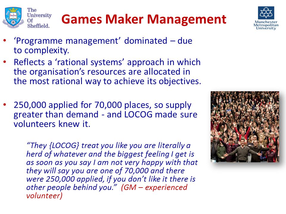 Games Maker Management 'Programme management' dominated – due to complexity.