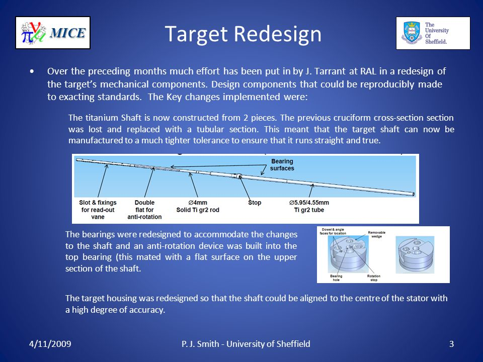 MICE Target Redesign Over the preceding months much effort has been put in by J. Tarrant at RAL in a redesign of the target's mechanical components. D