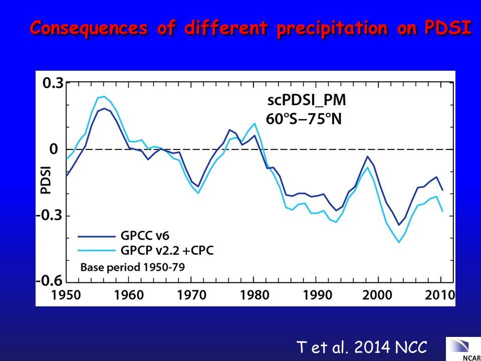 Consequences of different precipitation on PDSI T et al. 2014 NCC
