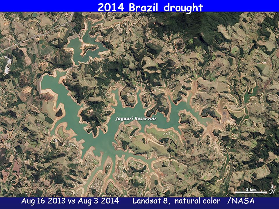 Aug 16 2013 vs Aug 3 2014Landsat 8, natural color /NASA 2014 Brazil drought