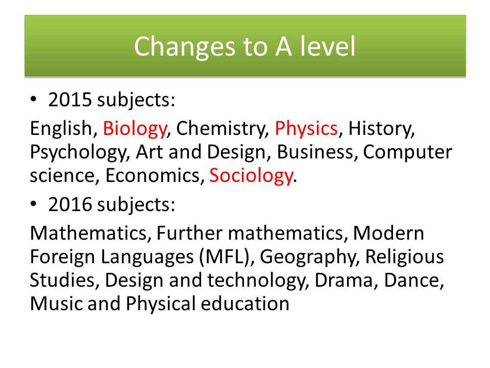 Changes to A level 2015 subjects: English, Biology, Chemistry, Physics, History, Psychology, Art and Design, Business, Computer science, Economics, Sociology.