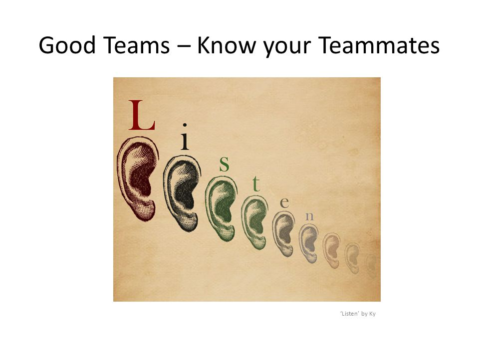 Good Teams – Know your Teammates 'Listen' by Ky