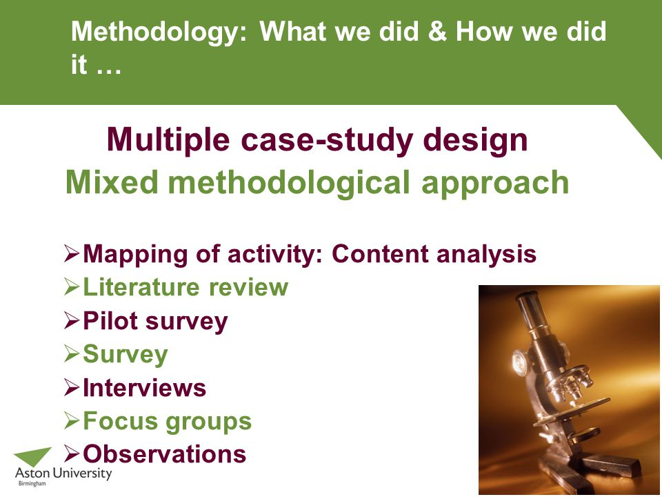 Methodology: What we did & How we did it … Multiple case-study design Mixed methodological approach  Mapping of activity: Content analysis  Literature review  Pilot survey  Survey  Interviews  Focus groups  Observations