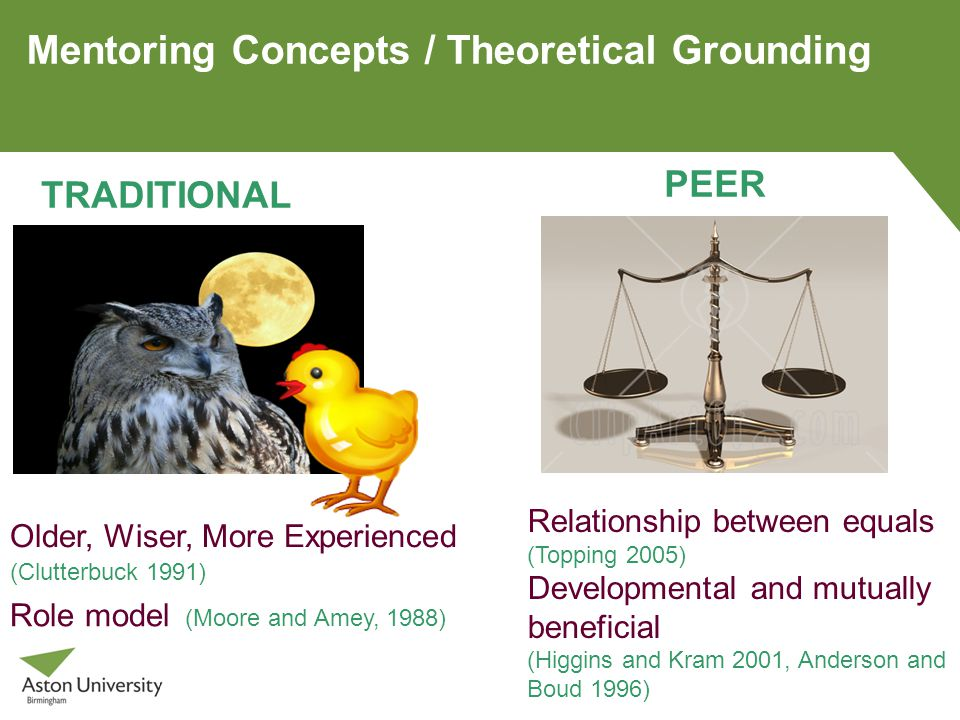 Mentoring Concepts / Theoretical Grounding Older, Wiser, More Experienced (Clutterbuck 1991) TRADITIONAL Role model (Moore and Amey, 1988) PEER Relationship between equals (Topping 2005) Developmental and mutually beneficial (Higgins and Kram 2001, Anderson and Boud 1996)