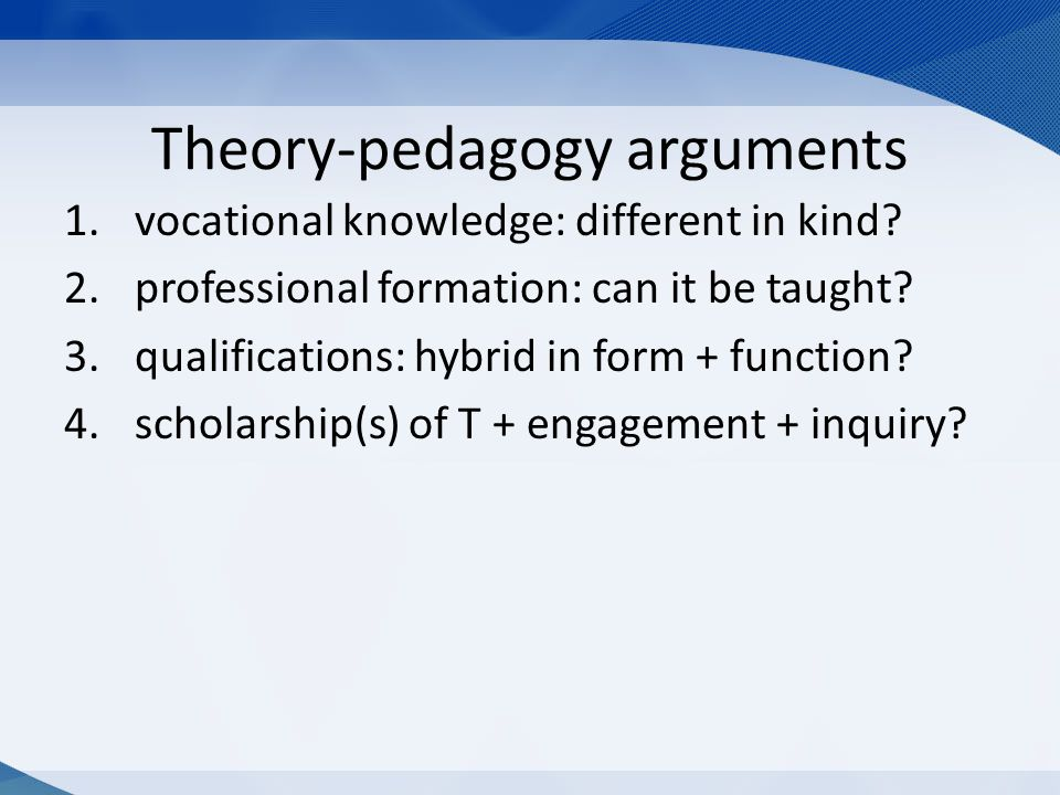 Theory-pedagogy arguments 1.vocational knowledge: different in kind.