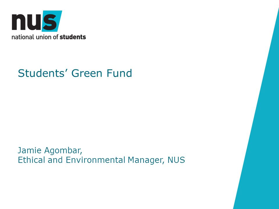 Jamie Agombar, Ethical and Environmental Manager, NUS Students' Green Fund