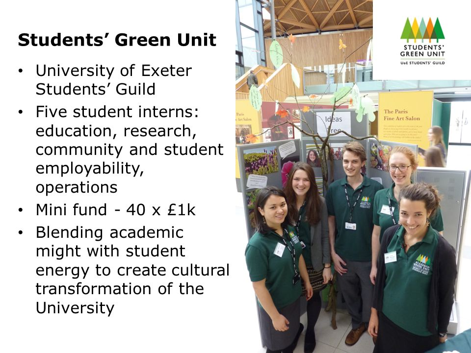 Students' Green Unit University of Exeter Students' Guild Five student interns: education, research, community and student employability, operations Mini fund - 40 x £1k Blending academic might with student energy to create cultural transformation of the University