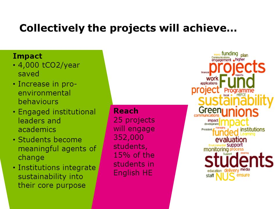 Collectively the projects will achieve… Impact 4,000 tCO2/year saved Increase in pro- environmental behaviours Engaged institutional leaders and academics Students become meaningful agents of change Institutions integrate sustainability into their core purpose Reach 25 projects will engage 352,000 students, 15% of the students in English HE