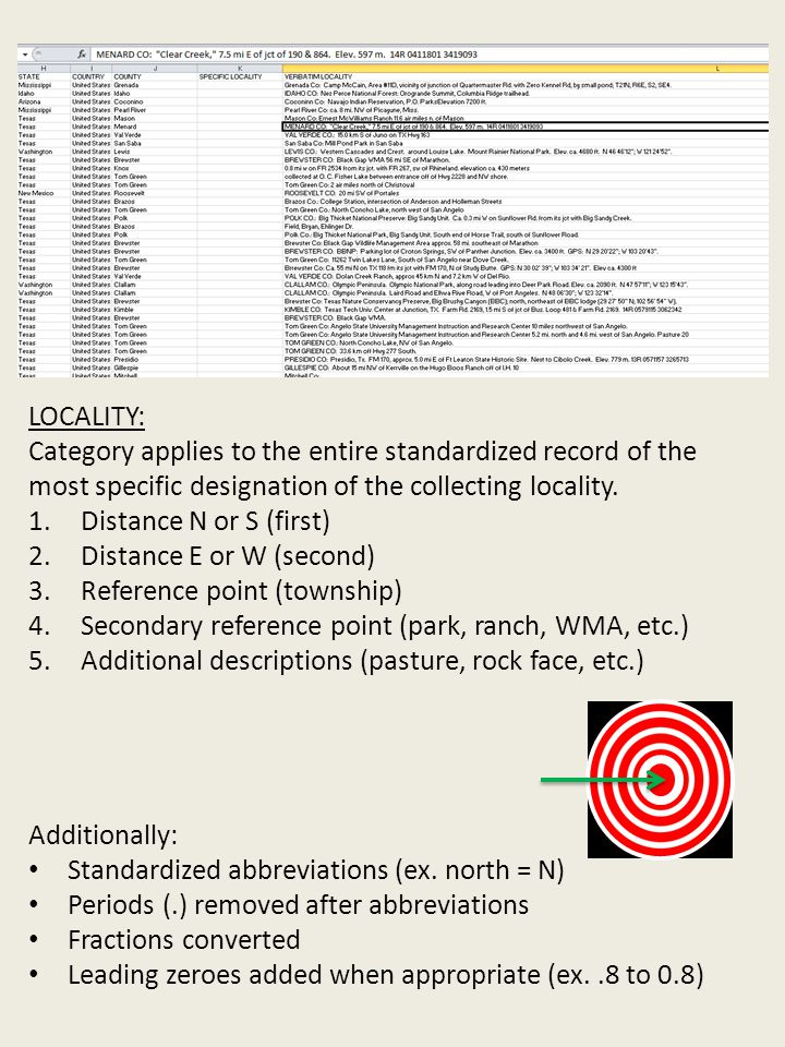 LOCALITY: Category applies to the entire standardized record of the most specific designation of the collecting locality.