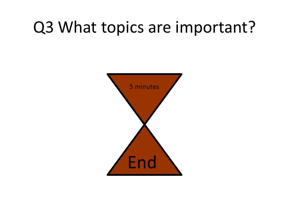 Q3 What topics are important? Work with the person sitting next to you to prioritise topics from the list You may have to think about this from the pe