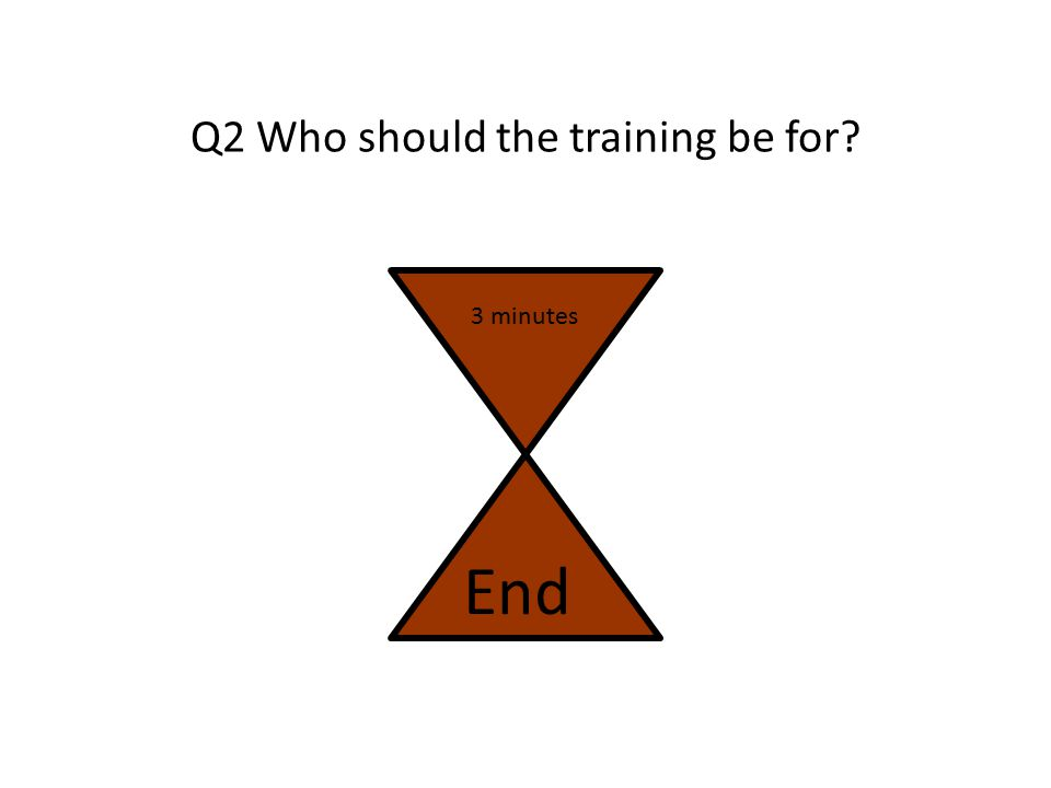 Q2 Who should the training be for? 3 minutes End