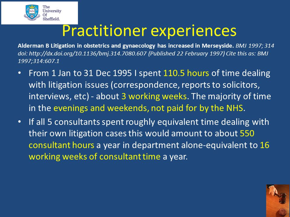 Practitioner experiences Alderman B Litigation in obstetrics and gynaecology has increased in Merseyside.