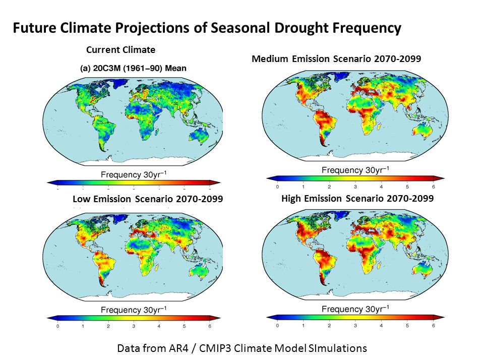 Future Climate Projections of Seasonal Drought Frequency Current Climate Medium Emission Scenario 2070-2099 High Emission Scenario 2070-2099 Low Emission Scenario 2070-2099 Data from AR4 / CMIP3 Climate Model SImulations