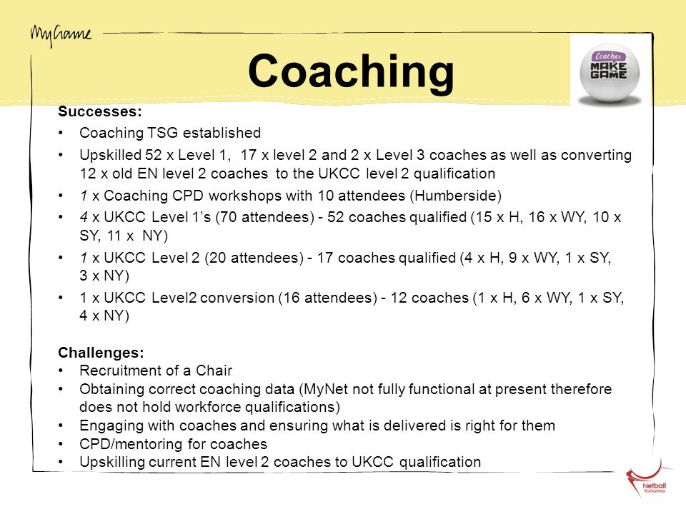Coaching Successes: Coaching TSG established Upskilled 52 x Level 1, 17 x level 2 and 2 x Level 3 coaches as well as converting 12 x old EN level 2 coaches to the UKCC level 2 qualification 1 x Coaching CPD workshops with 10 attendees (Humberside) 4 x UKCC Level 1's (70 attendees) - 52 coaches qualified (15 x H, 16 x WY, 10 x SY, 11 x NY) 1 x UKCC Level 2 (20 attendees) - 17 coaches qualified (4 x H, 9 x WY, 1 x SY, 3 x NY) 1 x UKCC Level2 conversion (16 attendees) - 12 coaches (1 x H, 6 x WY, 1 x SY, 4 x NY) Challenges: Recruitment of a Chair Obtaining correct coaching data (MyNet not fully functional at present therefore does not hold workforce qualifications) Engaging with coaches and ensuring what is delivered is right for them CPD/mentoring for coaches Upskilling current EN level 2 coaches to UKCC qualification