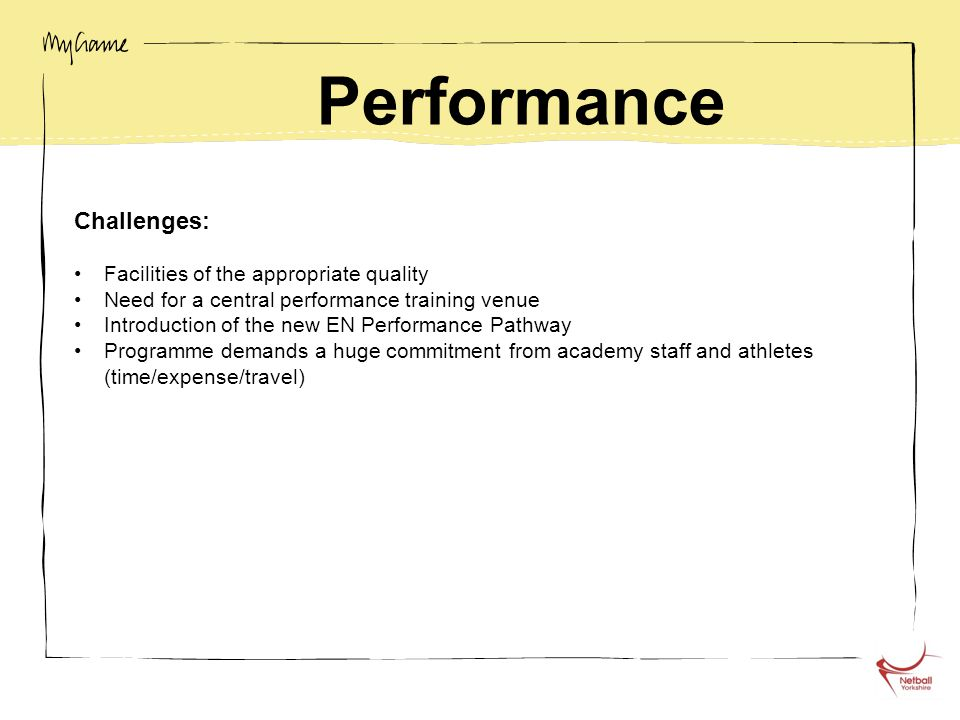 Performance Challenges: Facilities of the appropriate quality Need for a central performance training venue Introduction of the new EN Performance Pat