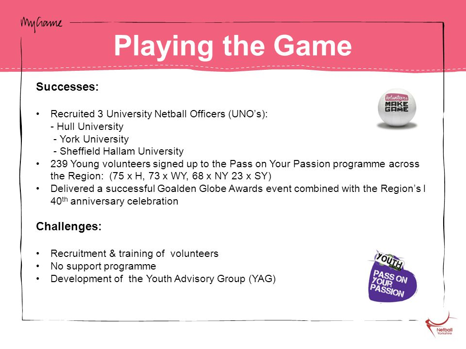 Successes: Recruited 3 University Netball Officers (UNO's): - Hull University - York University - Sheffield Hallam University 239 Young volunteers signed up to the Pass on Your Passion programme across the Region: (75 x H, 73 x WY, 68 x NY 23 x SY) Delivered a successful Goalden Globe Awards event combined with the Region's l 40 th anniversary celebration Challenges: Recruitment & training of volunteers No support programme Development of the Youth Advisory Group (YAG) Playing the Game