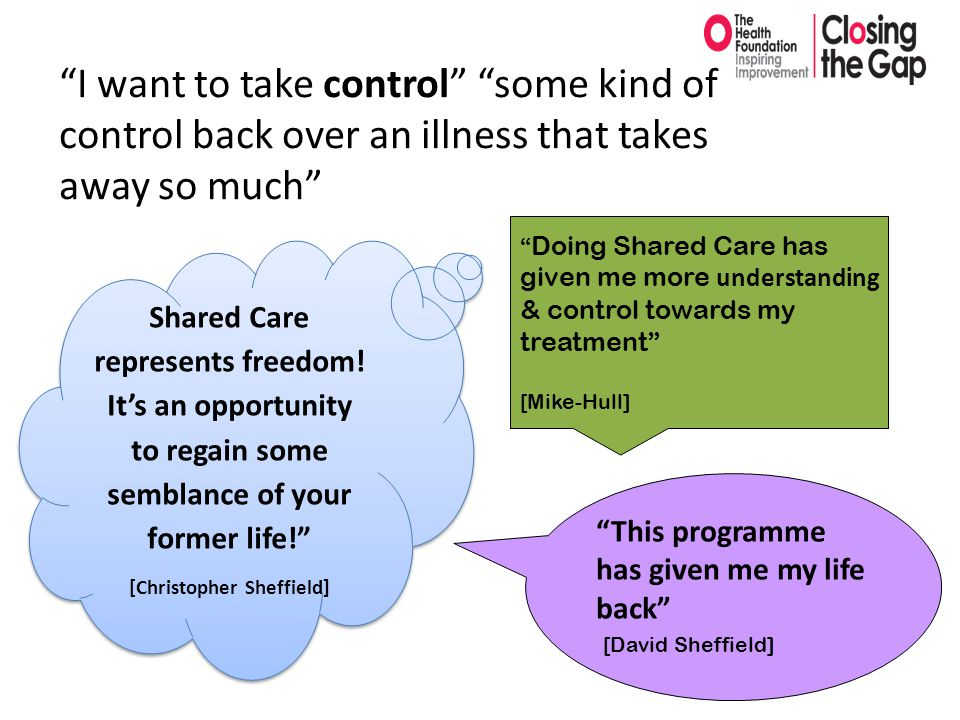 """This programme has given me my life back"" [David Sheffield] Shared Care represents freedom! It's an opportunity to regain some semblance of your form"