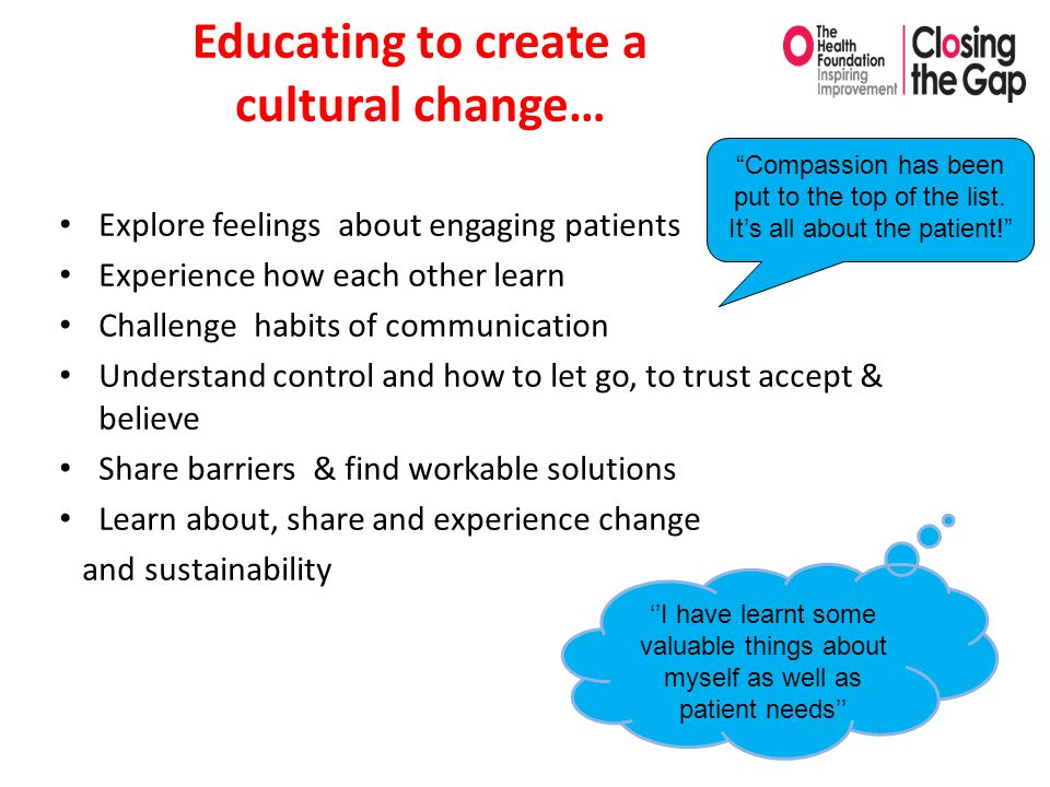Educating to create a cultural change… Explore feelings about engaging patients Experience how each other learn Challenge habits of communication Unde