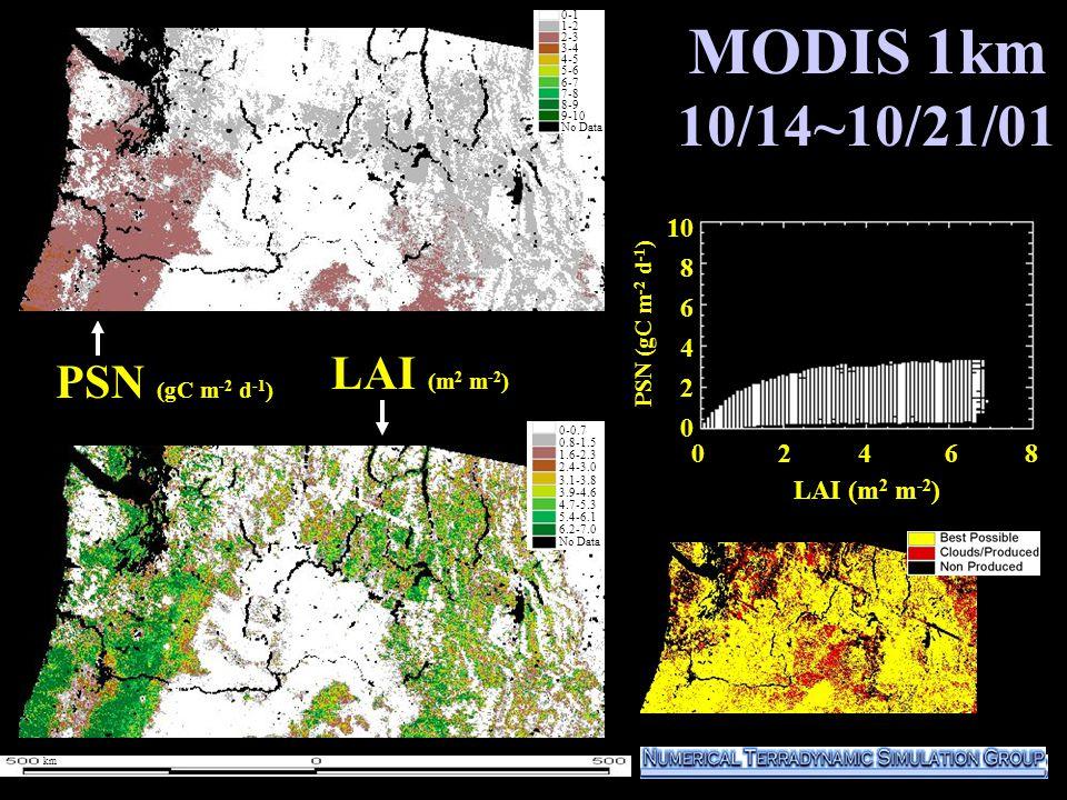 MODIS 1km 10/14~10/21/01 1000 800 600 400 200 0 PSN (gC m -2 d -1 ) LAI (m 2 m -2 ) 0-1 1-2 2-3 3-4 4-5 5-6 6-7 7-8 8-9 9-10 No Data 0-1 1-2 2-3 3-4 4-5 5-6 6-7 7-8 8-9 9-10 No Data 0 2 4 6 8 10 8 6 4 2 0 LAI (m 2 m -2 ) 0-0.7 0.8-1.5 1.6-2.3 2.4-3.0 3.1-3.8 3.9-4.6 4.7-5.3 5.4-6.1 6.2-7.0 No Data PSN (gC m -2 d -1 ) km