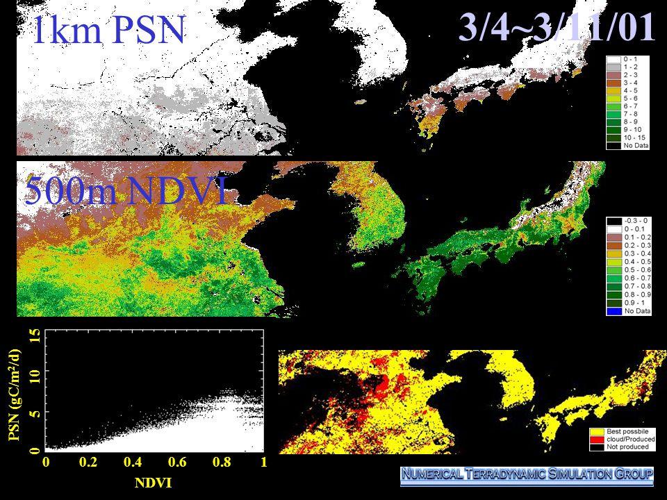 3/4~3/11/01 0 0.2 0.4 0.6 0.8 1 NDVI PSN (gC/m 2 /d) 0 5 10 15 500m NDVI 1km PSN