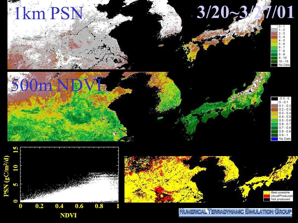 0 0.2 0.4 0.6 0.8 1 NDVI PSN (gC/m 2 /d) 0 5 10 15 500m NDVI 1km PSN 3/20~3/27/01
