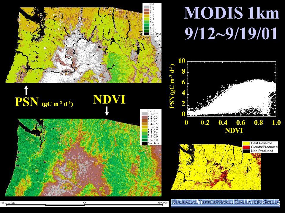 MODIS 1km 9/12~9/19/01 0 0.2 0.4 0.6 0.8 1.0 10 8 6 4 2 0 NDVI PSN (gC m -2 d -1 ) NDVI 0-1 1-2 2-3 3-4 4-5 5-6 6-7 7-8 8-9 9-10 No Data 0-0.1 0.1-0.2 0.2-0.3 0.3-0.4 0.4-0.5 0.5-0.6 0.6-0.7 0.7-0.8 0.8-0.9 0.9-1.0 No Data km