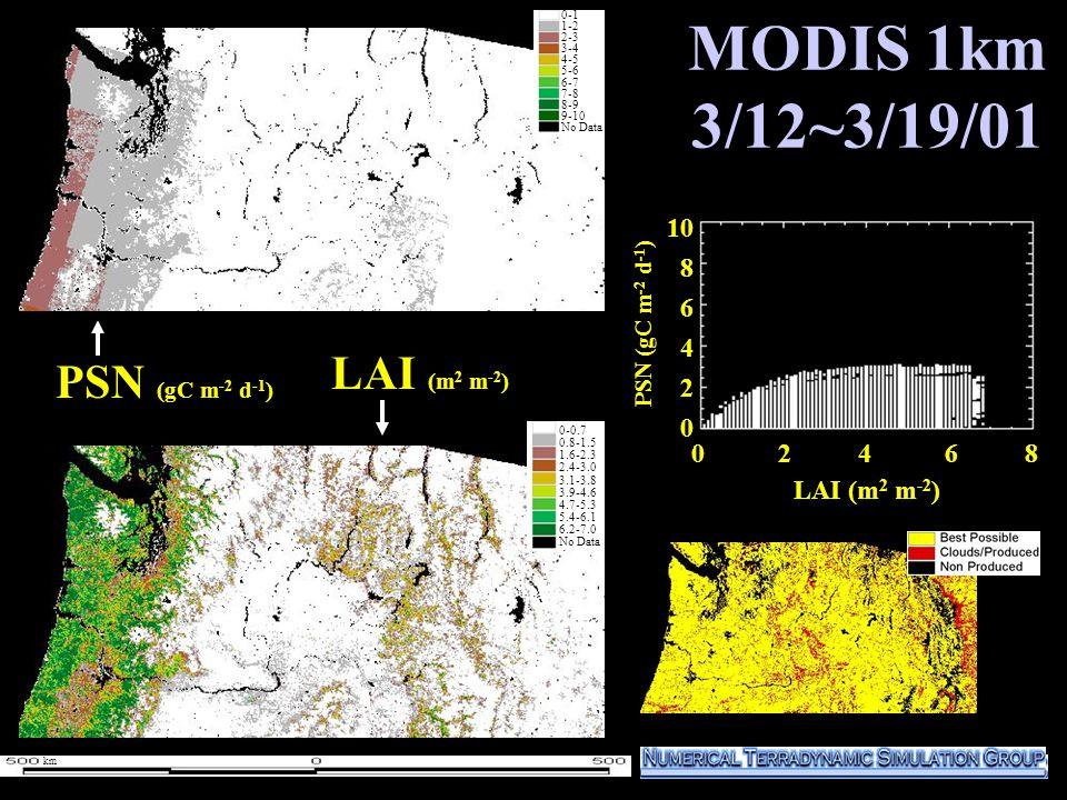 MODIS 1km 3/12~3/19/01 1000 800 600 400 200 0 PSN (gC m -2 d -1 ) LAI (m 2 m -2 ) 0-1 1-2 2-3 3-4 4-5 5-6 6-7 7-8 8-9 9-10 No Data 0-0.7 0.8-1.5 1.6-2.3 2.4-3.0 3.1-3.8 3.9-4.6 4.7-5.3 5.4-6.1 6.2-7.0 No Data 0-1 1-2 2-3 3-4 4-5 5-6 6-7 7-8 8-9 9-10 No Data 0 2 4 6 8 10 8 6 4 2 0 LAI (m 2 m -2 ) PSN (gC m -2 d -1 ) km